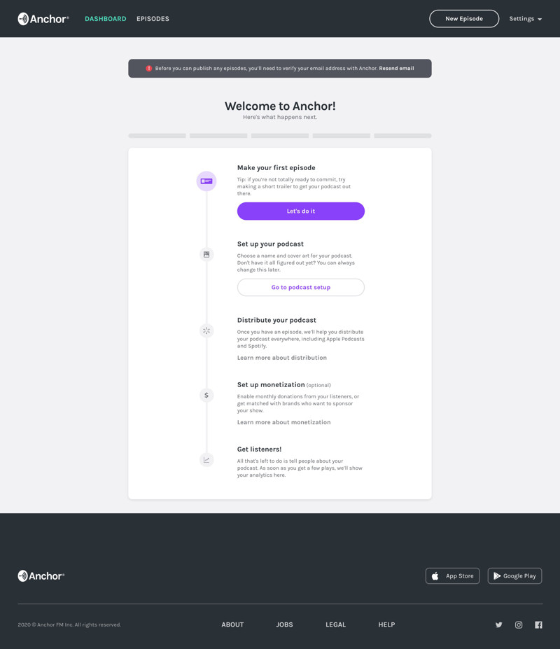 Anchor Onboarding steps screenshot