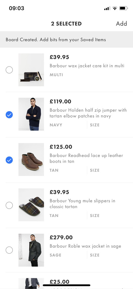 Asos Save to collection screenshot