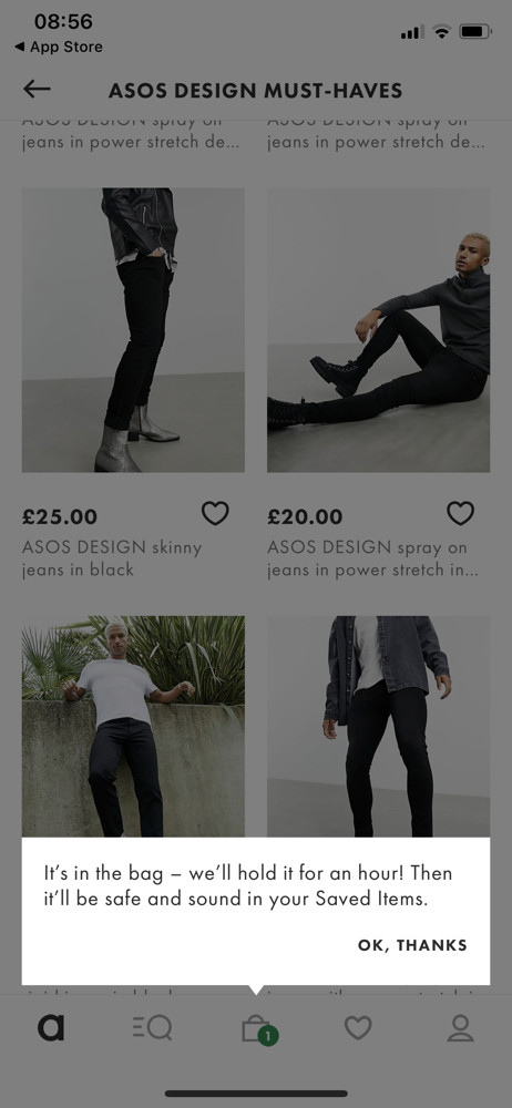Asos Added to basket screenshot