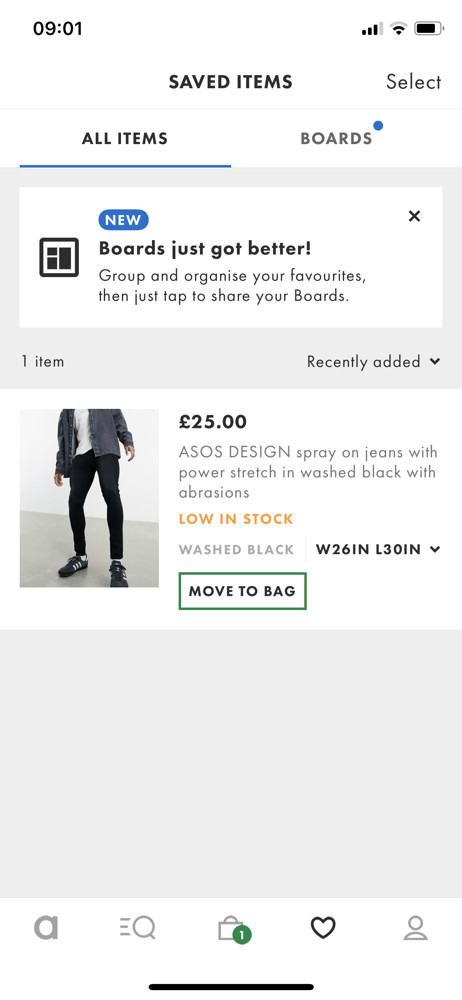 Asos Saved items screenshot