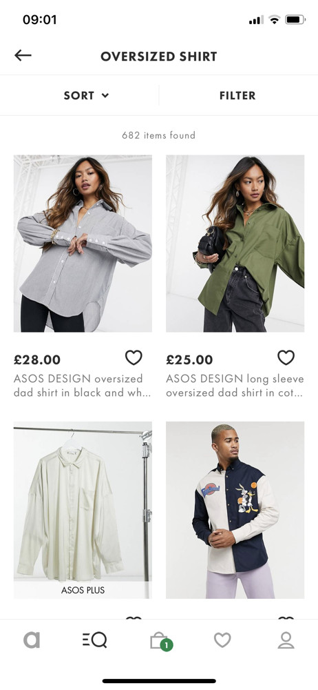 Asos Search results screenshot