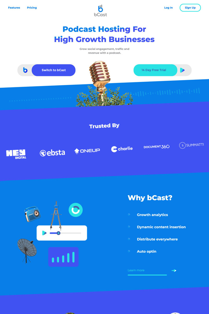 bCast Landing page screenshot