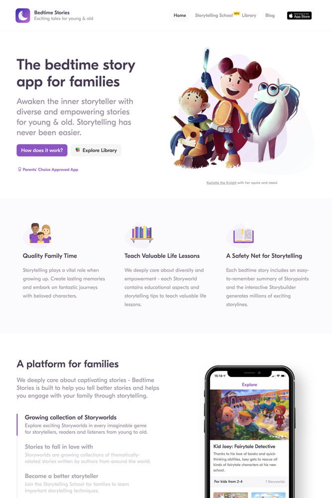 Bedtime Stories Landing page screenshot