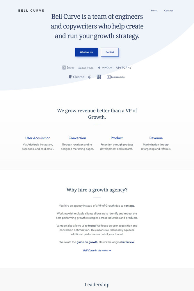 Bell Curve Landing page screenshot