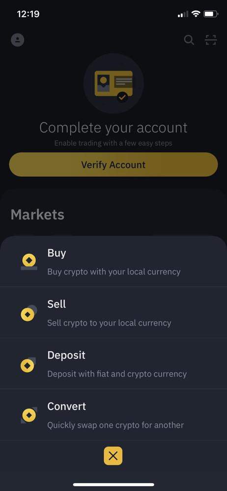Binance action menu screenshot