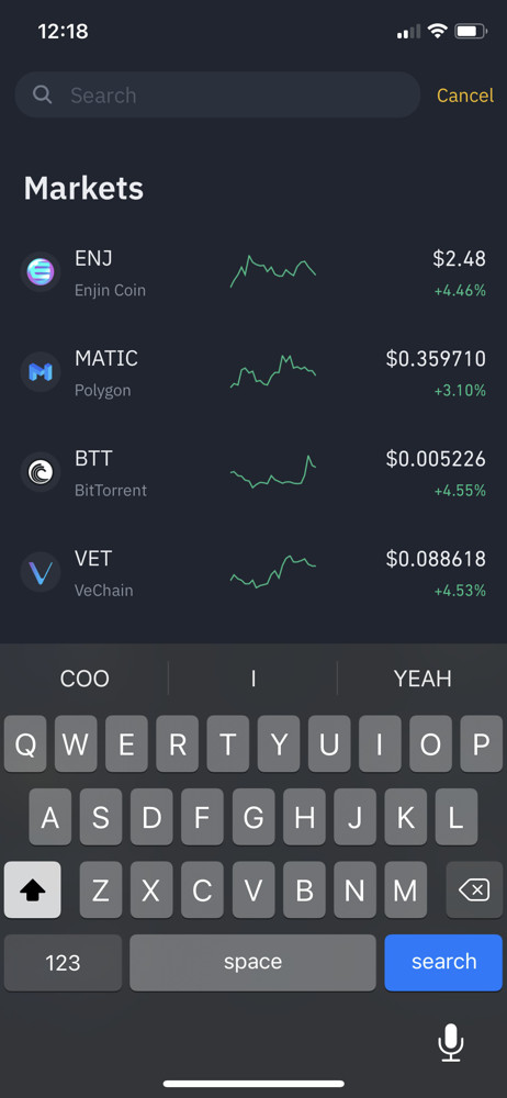 Binance search screenshot