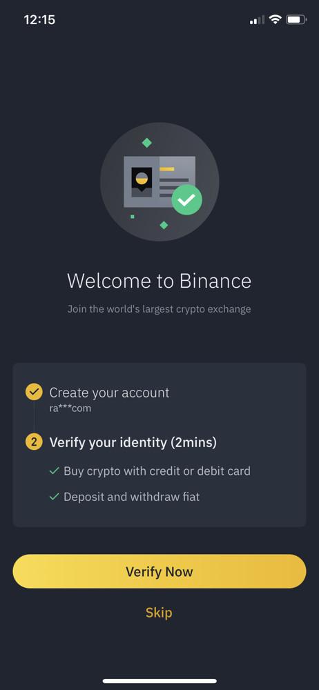Binance welcome screenshot