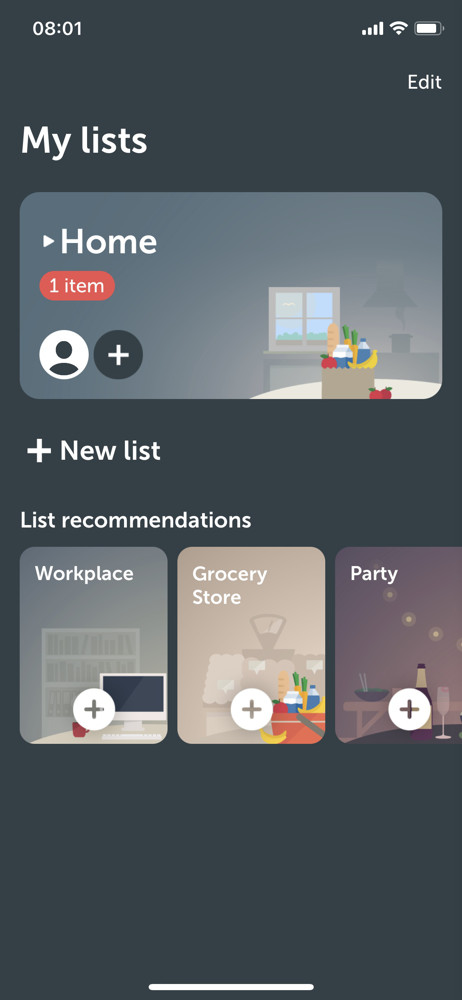 Bring Lists screenshot
