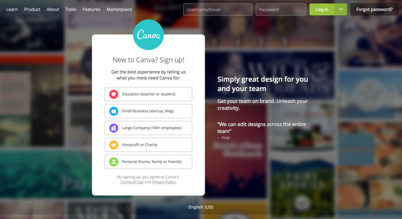 Canva Landing page screenshot
