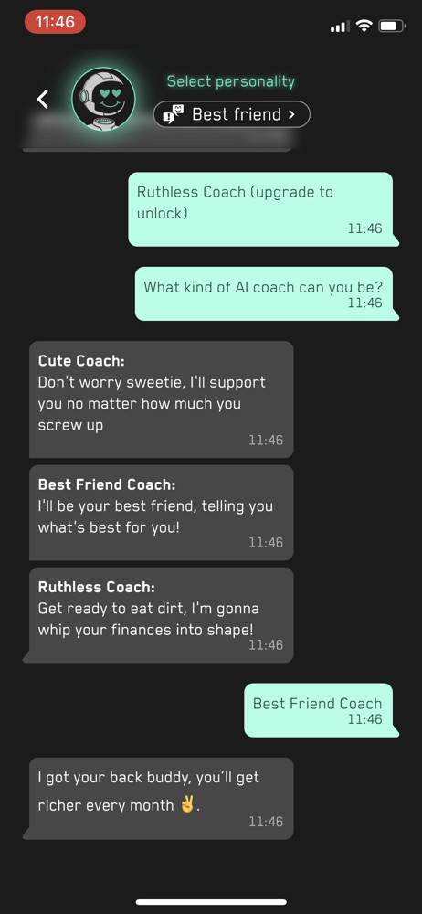 Cash Coach Chat bot screenshot