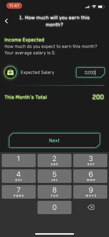 Cash Coach Set goal screenshot