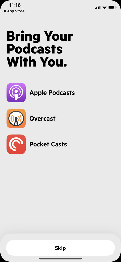 Castro Import podcasts screenshot