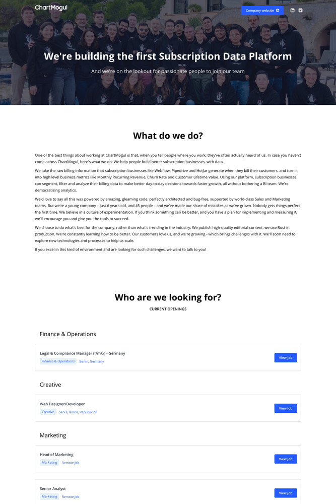 Chartmogul careers screenshot