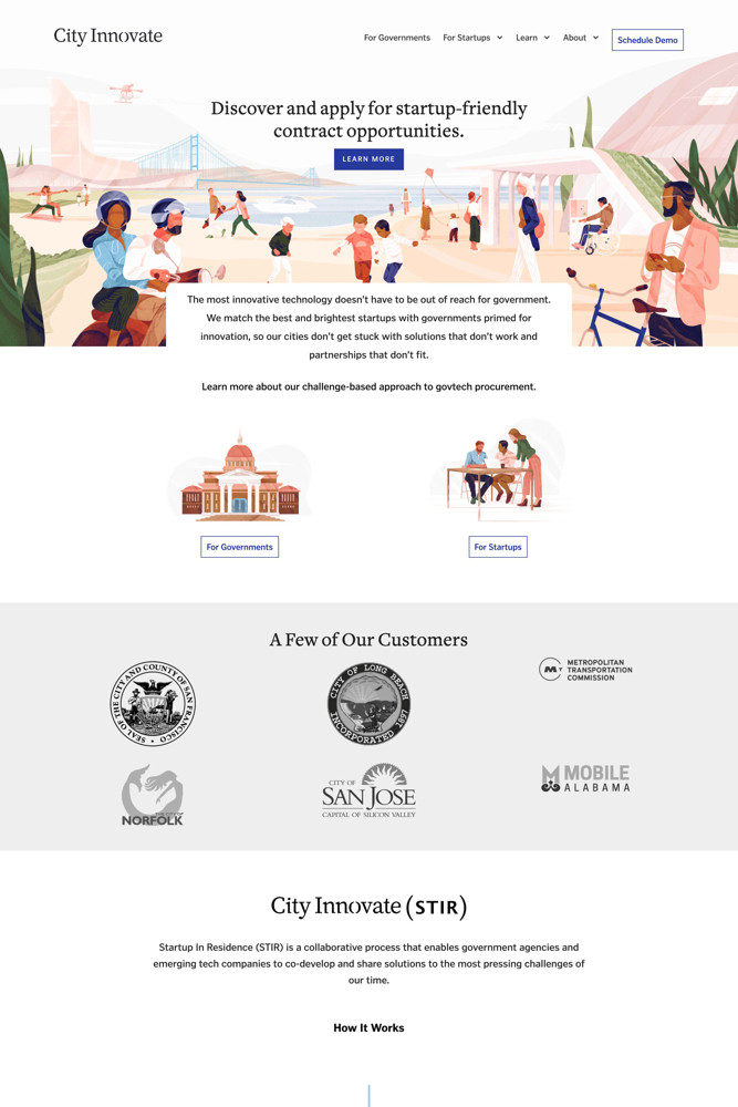 City Innovate Landing page screenshot