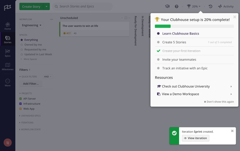 Clubhouse Onboarding tasks screenshot
