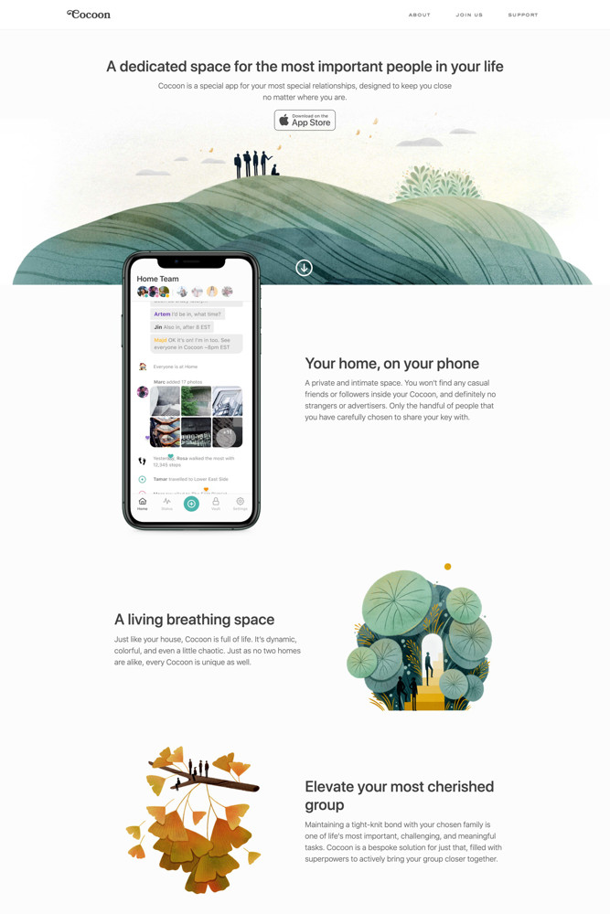 Cocoon Landing page screenshot