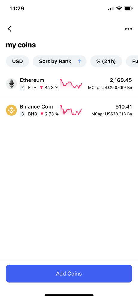 CoinMarketCap My coins screenshot