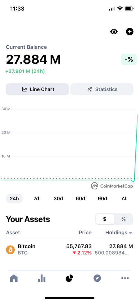 CoinMarketCap Portfolio screenshot