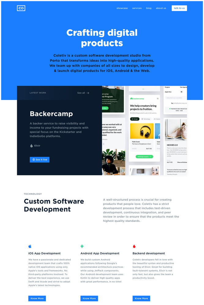 Coletiv Landing page screenshot