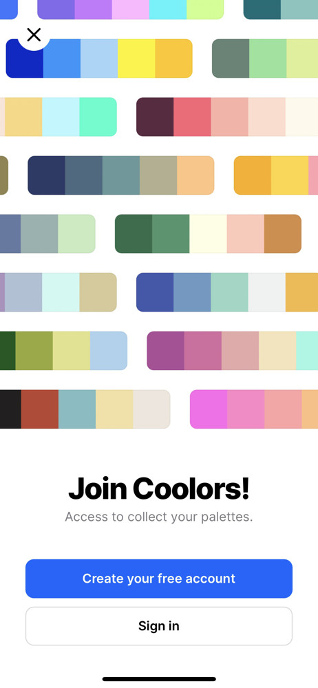 Coolors Sign up prompt screenshot