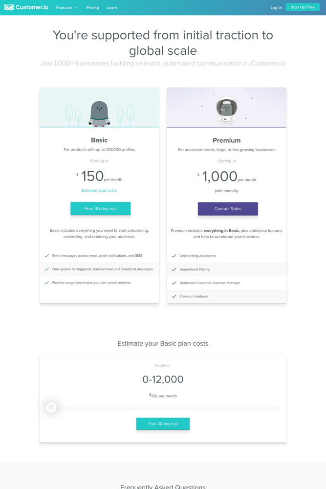Customer.io Pricing screenshot
