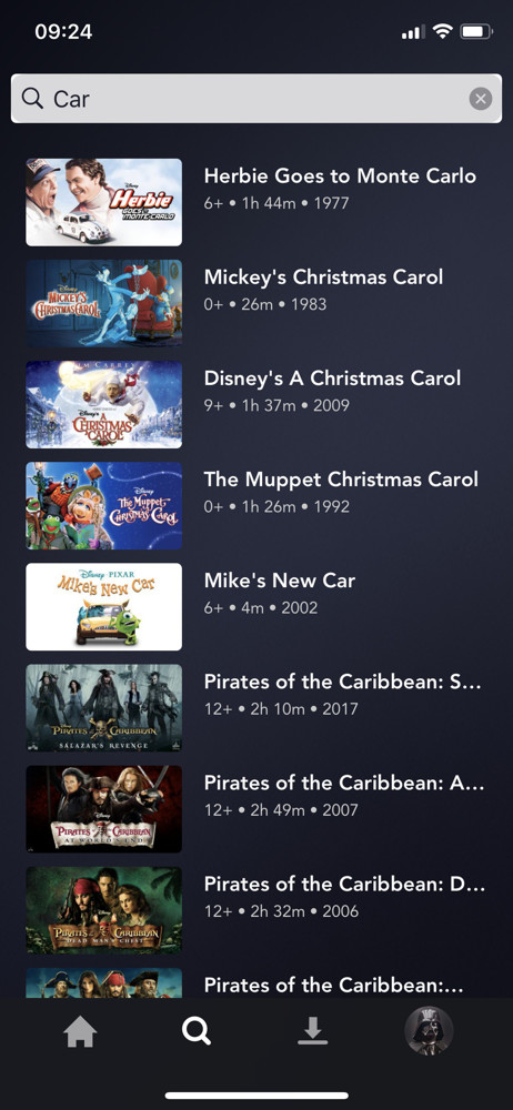 Disney+ Search results screenshot