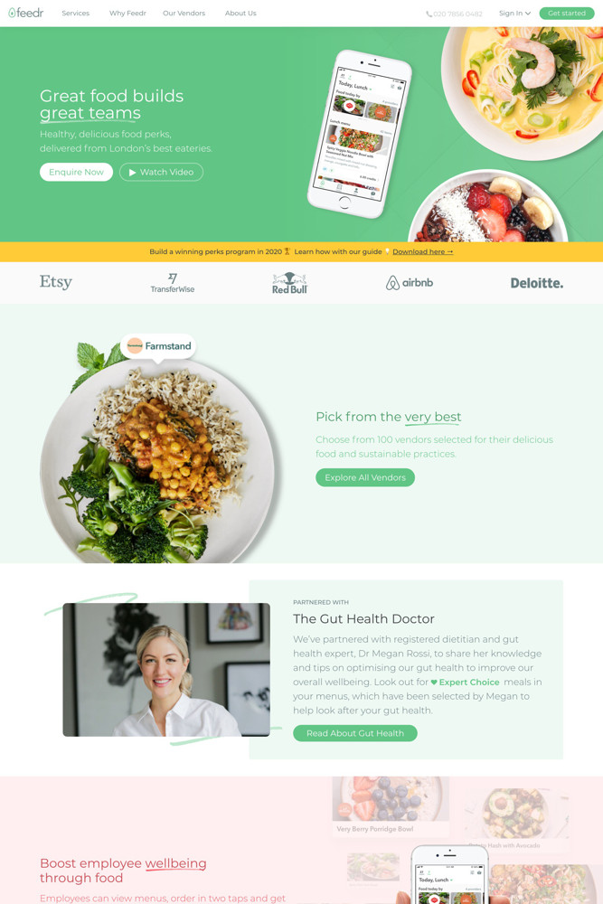 Feedr Landing page screenshot