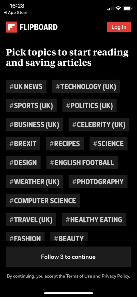 Flipboard select interests screenshot