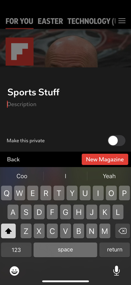 Flipboard create collection screenshot