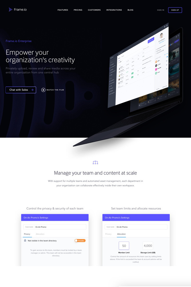 Frame.io For business screenshot