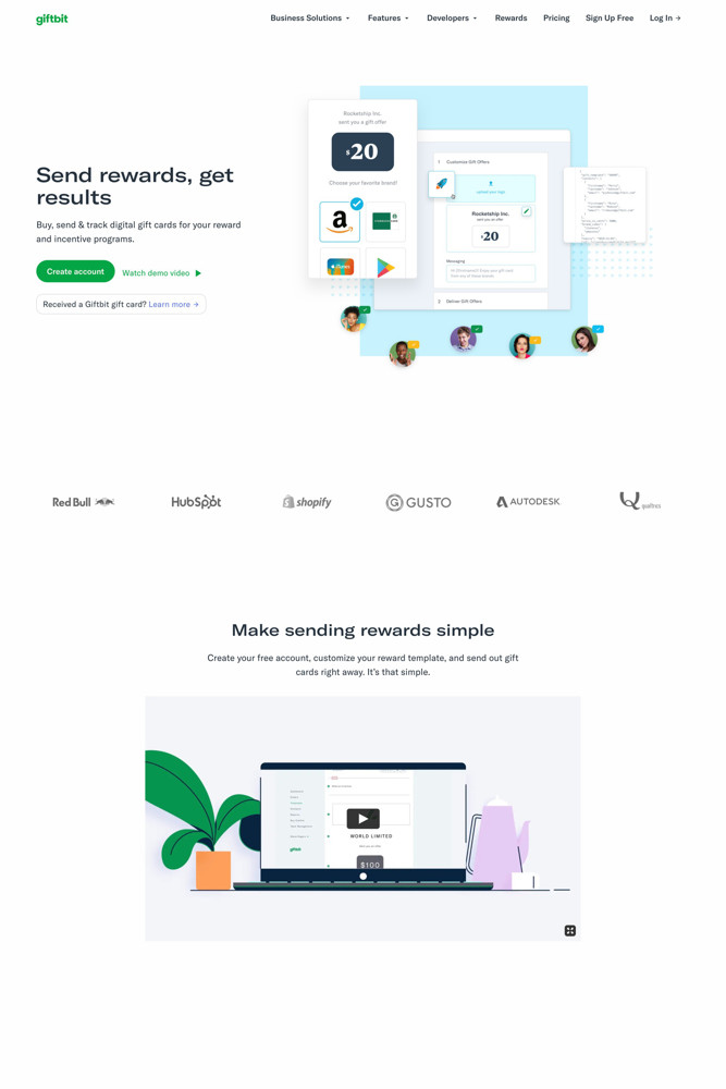 Giftbit Landing page screenshot