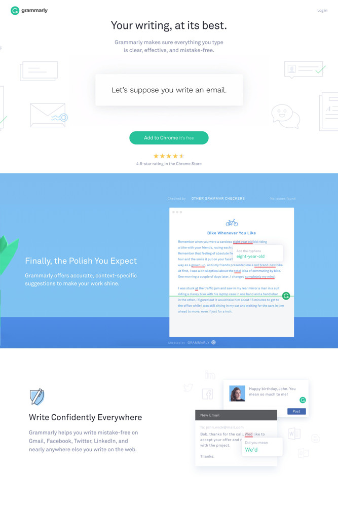 Grammarly Landing page screenshot