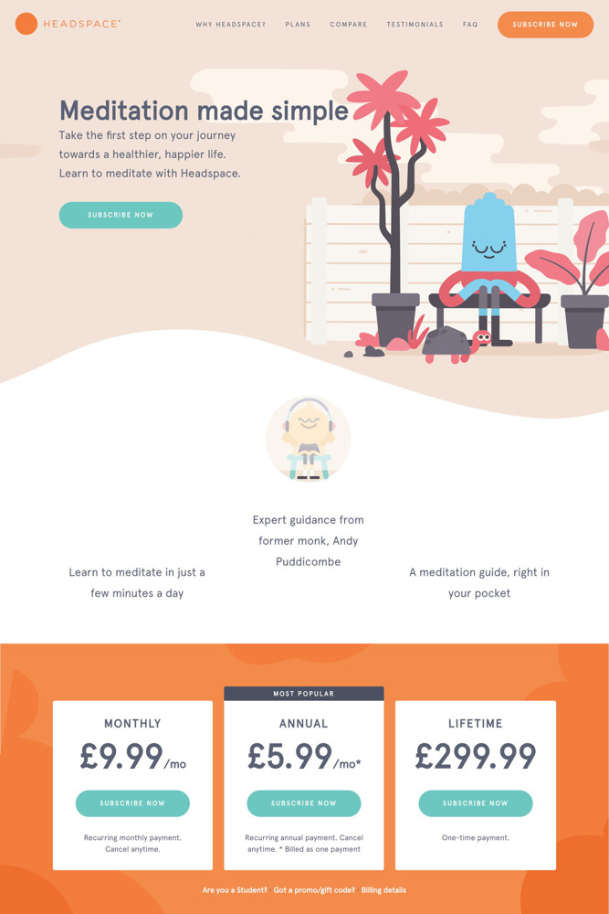 Headspace Pricing screenshot