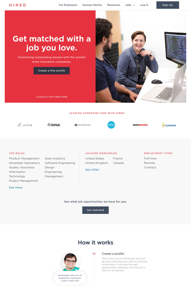 Hired Landing page screenshot
