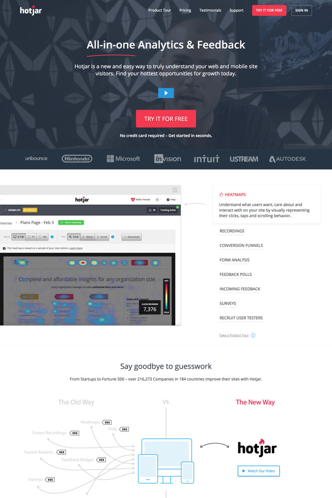 Hotjar Landing page screenshot