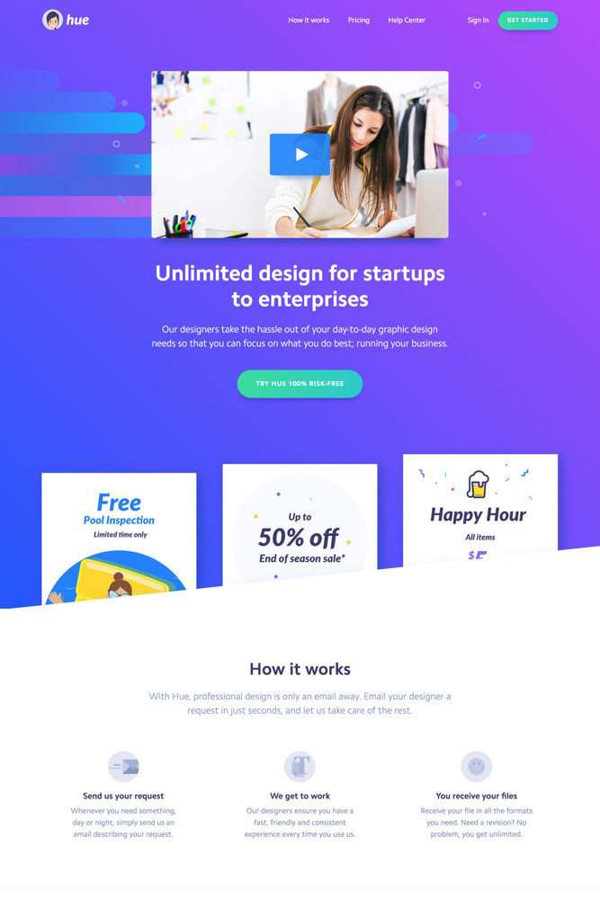 Hue Landing page screenshot