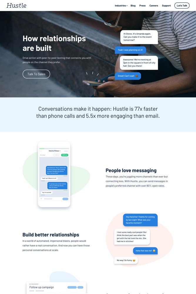 Hustle Landing page screenshot