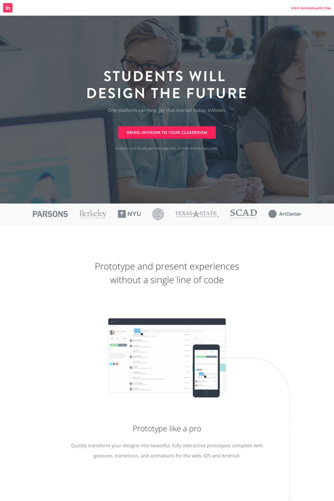 InVision For education screenshot