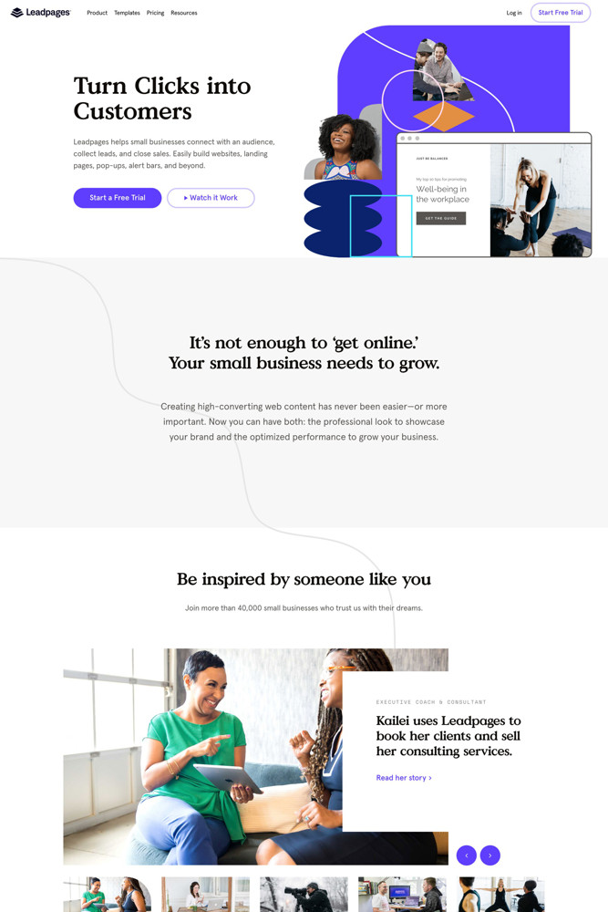 Leadpages Landing page screenshot