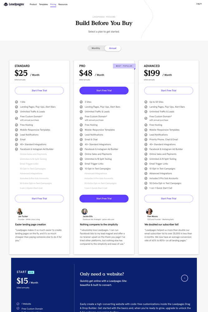Leadpages Pricing screenshot