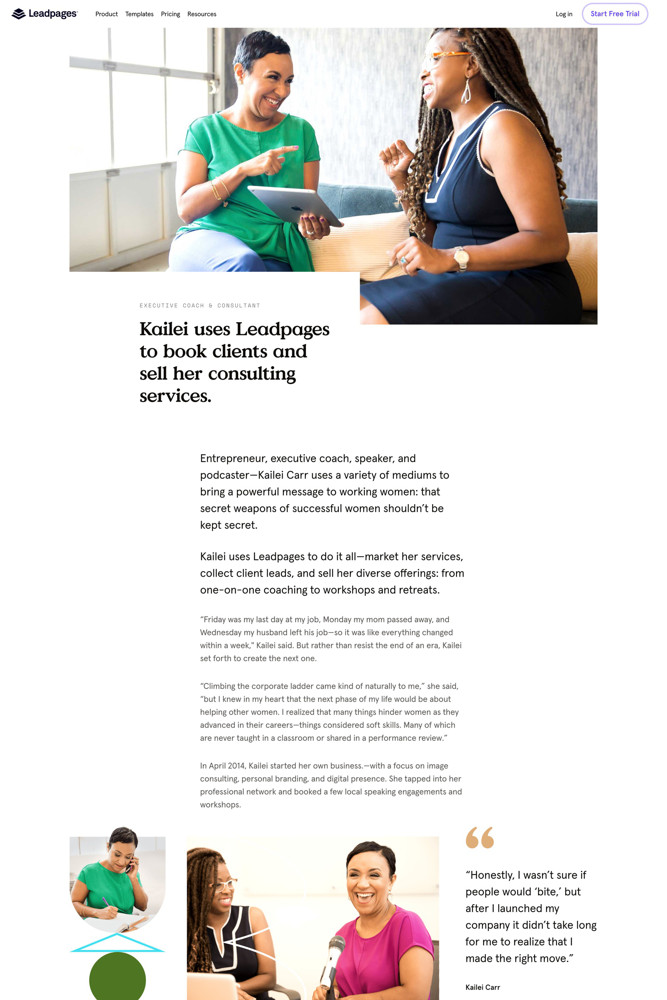 Leadpages Case study screenshot