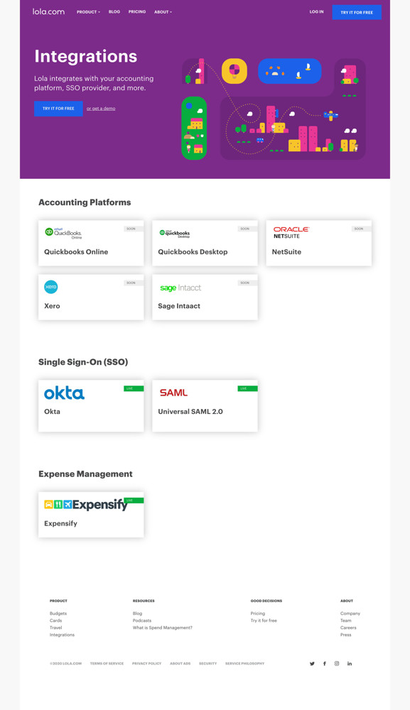Lola Integrations screenshot