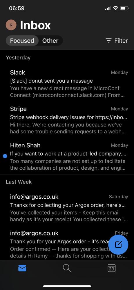 Microsoft outlook inbox screenshot