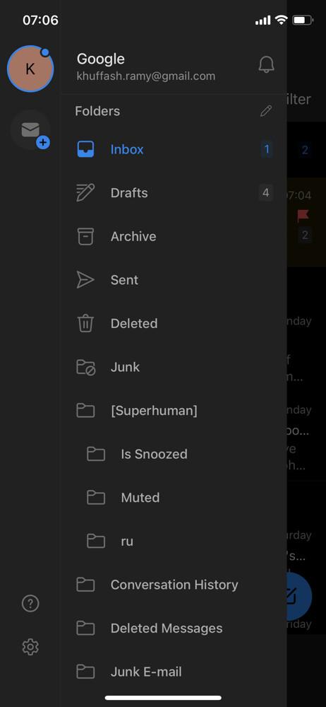 Microsoft outlook navigation menu screenshot