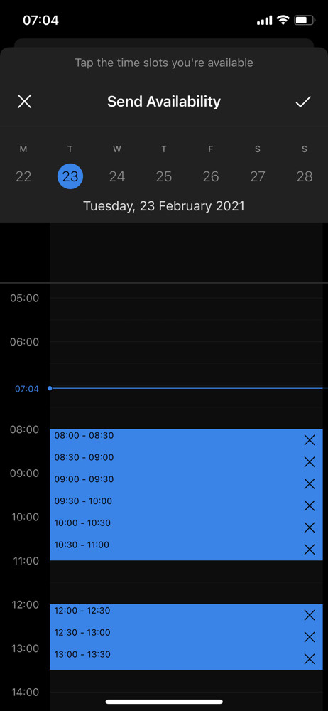 Microsoft outlook select availability screenshot