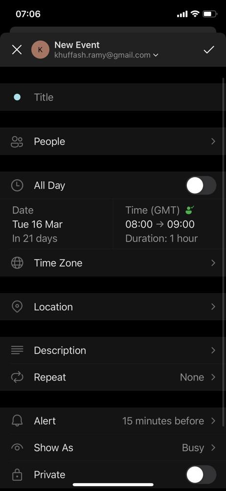 Microsoft outlook create event screenshot
