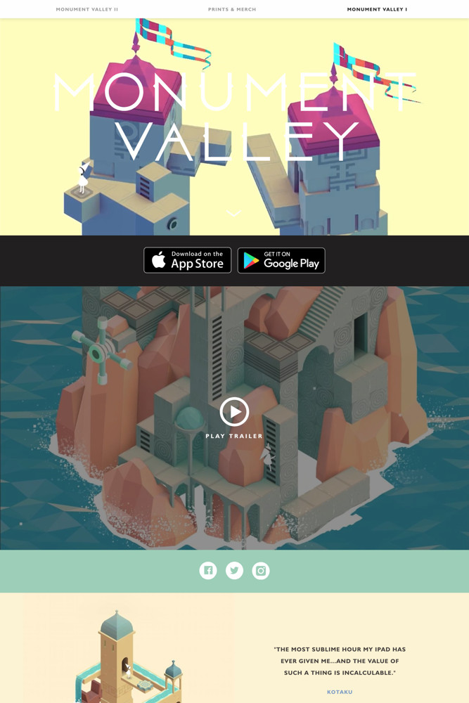 Monument Valley Landing page screenshot