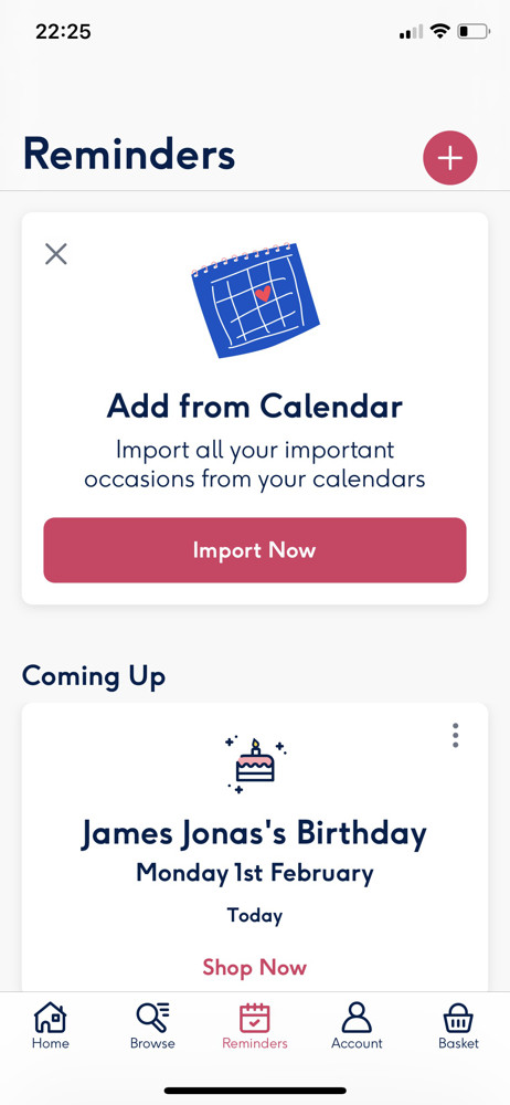 Moonpig Reminders screenshot