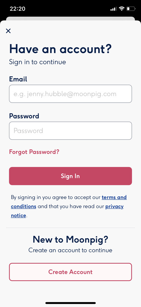 Moonpig Sign in screenshot