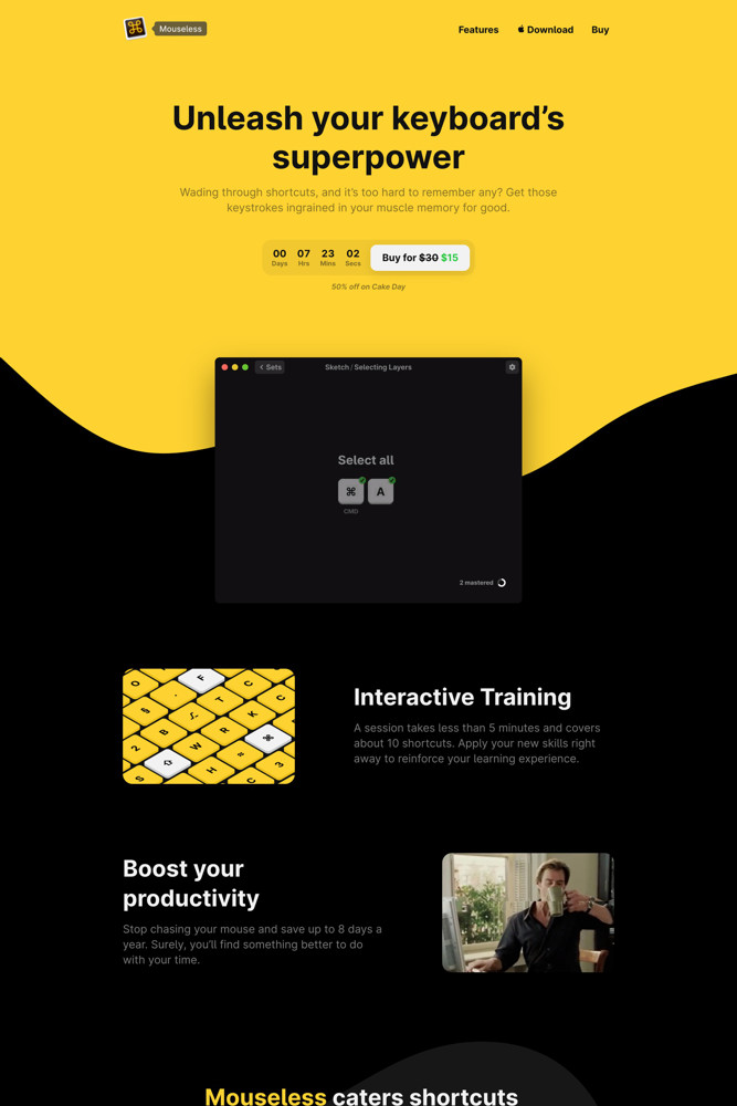 Mouseless Landing page screenshot